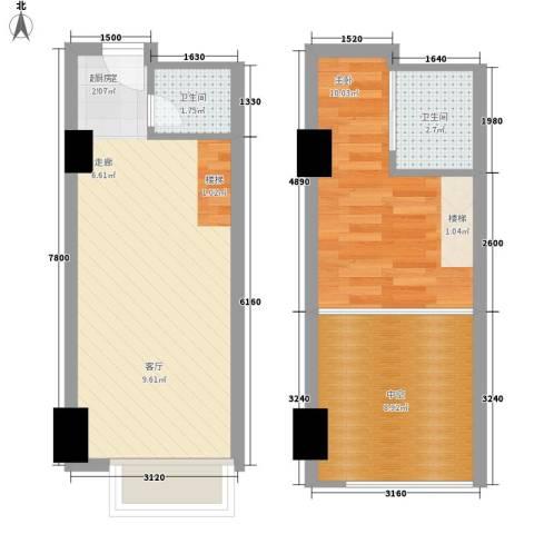 富力盈丰大厦1室0厅2卫0厨49.00㎡户型图