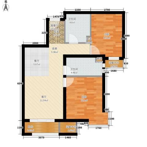 启新18892室1厅2卫0厨88.00㎡户型图
