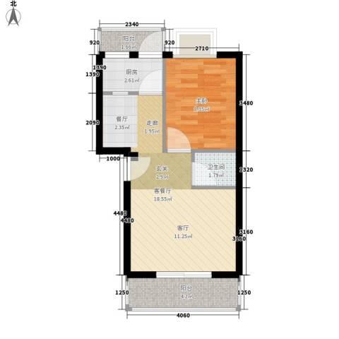 嘉宝广场1室1厅1卫1厨43.00㎡户型图