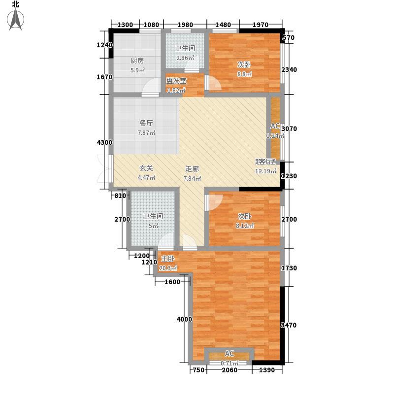 新津国际户型图F户型 3室2厅2卫 133.11平方米(2/3张)