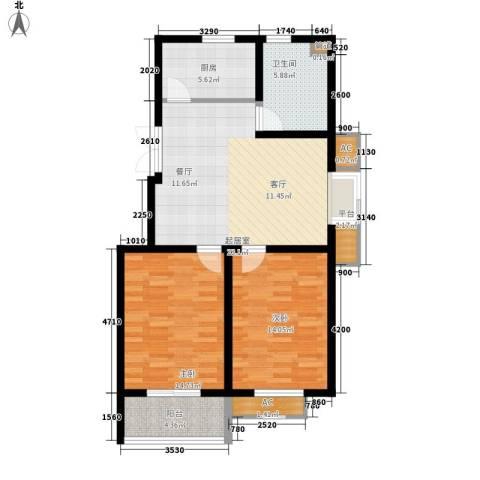 鸿运家园2室0厅1卫1厨83.00㎡户型图