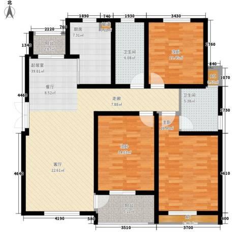 鸿运家园3室0厅2卫1厨126.00㎡户型图