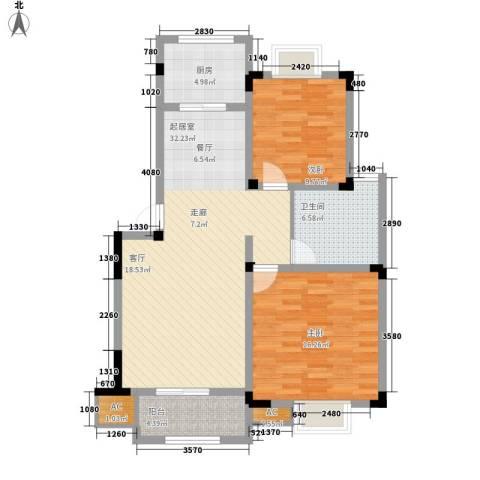 望景华庭2室0厅1卫1厨87.00㎡户型图