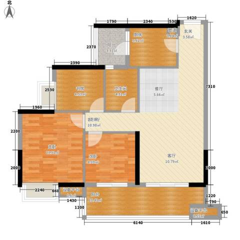 保利中宇广场3室1厅1卫1厨120.00㎡户型图