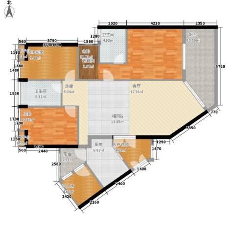 理想蓝堡国际花园2室0厅2卫1厨131.00㎡户型图