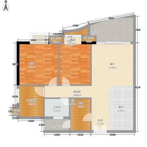 理想蓝堡国际花园2室1厅1卫1厨97.00㎡户型图