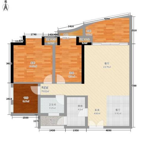 理想蓝堡国际花园4室1厅1卫1厨96.00㎡户型图