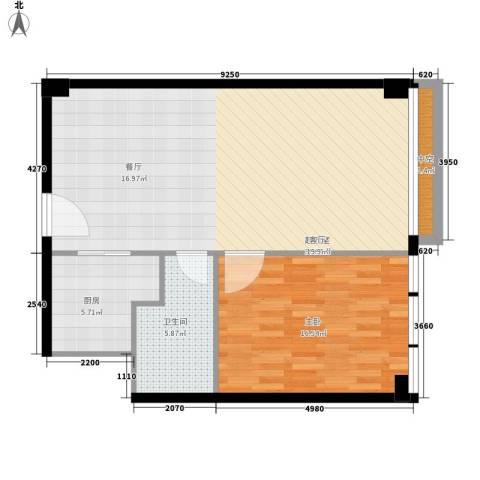 富力盈丰大厦1室0厅1卫1厨73.00㎡户型图