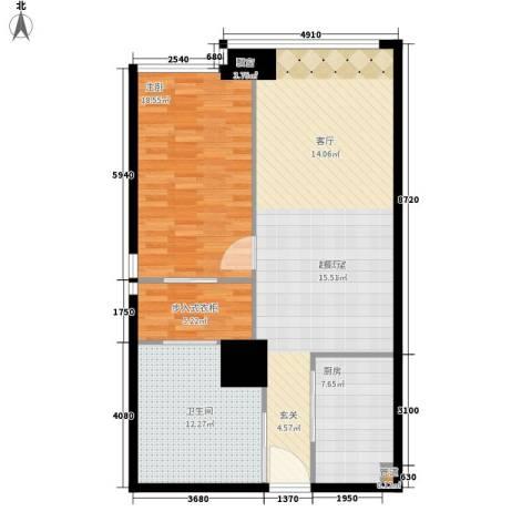 富力盈丰大厦1室0厅1卫1厨91.00㎡户型图