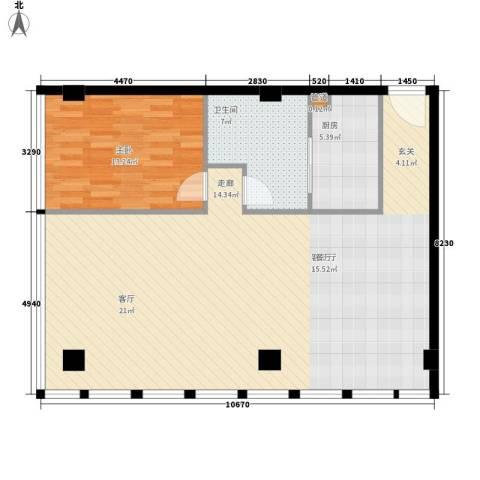 富力盈丰大厦1室1厅1卫1厨88.00㎡户型图
