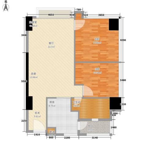 富力盈丰大厦2室0厅1卫1厨102.00㎡户型图