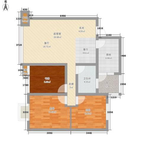 康路蓝山日记3室0厅1卫1厨78.00㎡户型图