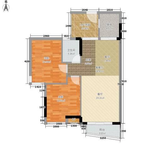 塘贝大厦2室1厅1卫1厨76.39㎡户型图