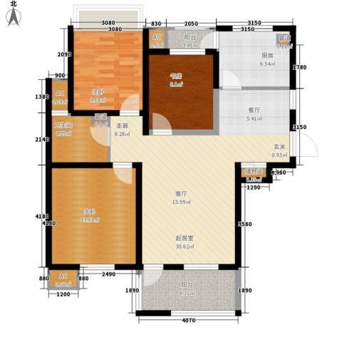 亿城新天地二期3室0厅1卫1厨96.00㎡户型图