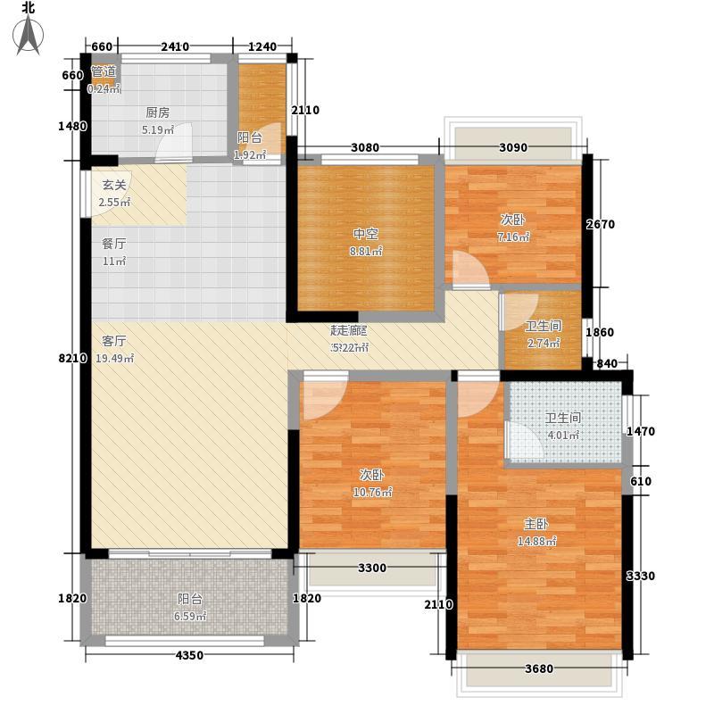 大东城124.00㎡1栋B单元A48楼及以上---创意前户型4室2厅