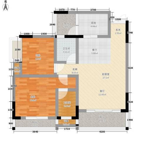 化家湾2室0厅2卫1厨69.97㎡户型图