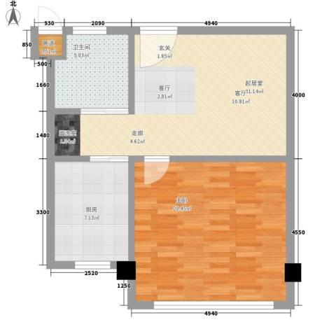 常青苑1室0厅1卫1厨61.00㎡户型图