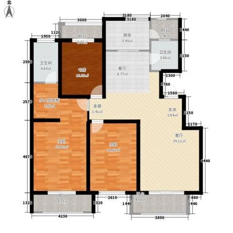 英伦华府3室1厅2卫1厨143.00㎡户型图