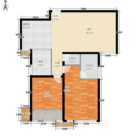 三箭如意苑2室0厅2卫1厨124.00㎡户型图