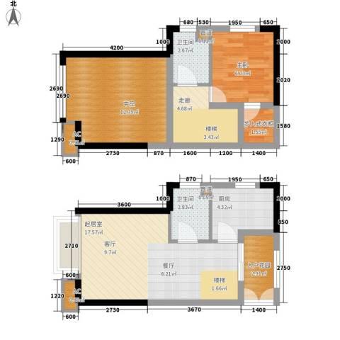 金辉融侨半岛香弥山2号1室0厅2卫1厨57.19㎡户型图