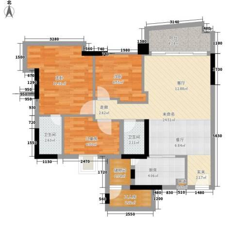 东裕广场3室0厅2卫1厨96.00㎡户型图