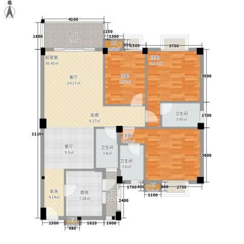 汉基花园3室0厅3卫1厨122.00㎡户型图