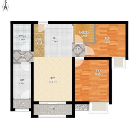 珠光御景2室1厅1卫1厨93.00㎡户型图