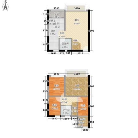 同景国际城香溪迈上3室0厅2卫0厨66.00㎡户型图