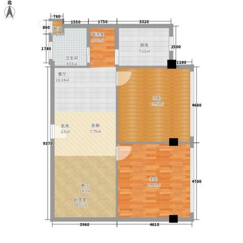 常青苑2室0厅1卫1厨99.00㎡户型图