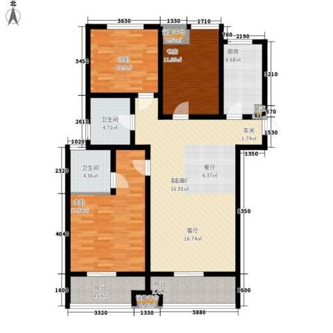 里奥福苑3室1厅2卫1厨150.00㎡户型图