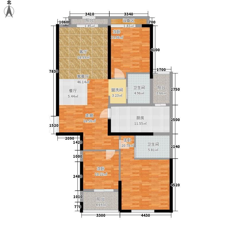 绿地国际金融城141.00㎡B户型3室2厅