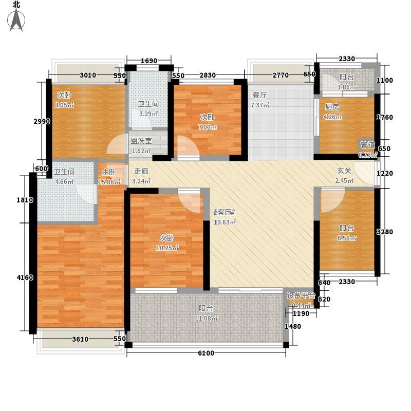 大东城124.00㎡1栋B单元A1、B2---创意后户型5室2厅