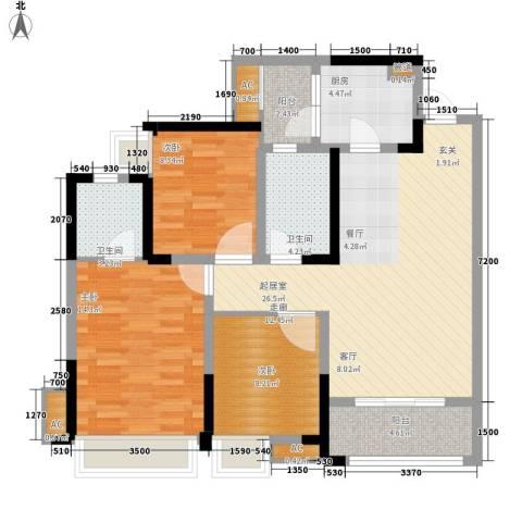 保利锦湖林语3室0厅2卫1厨96.00㎡户型图