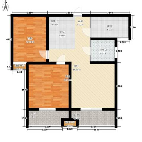 里奥福苑2室1厅1卫1厨118.00㎡户型图