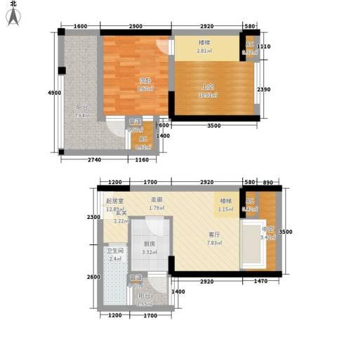 金辉融侨半岛香弥山2号1室0厅1卫1厨51.69㎡户型图