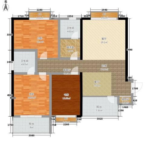 云曲山庄3室1厅2卫0厨136.00㎡户型图