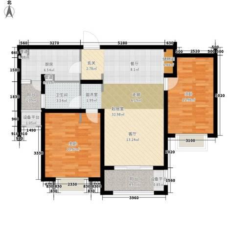 澜调国际2室0厅1卫1厨95.00㎡户型图