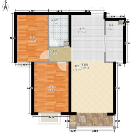 水木天成阁林园2室1厅1卫1厨96.00㎡户型图