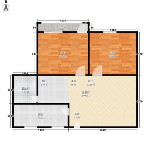 胜利大街学区房2室1厅1卫1厨74.00㎡户型图