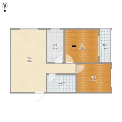 紫云溪2室1厅1卫1厨77.00㎡户型图