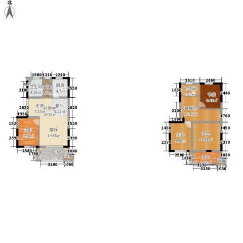正荣财富中心3室0厅2卫1厨130.00㎡户型图