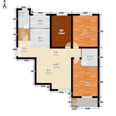 锦城3室1厅2卫1厨123.00㎡户型图