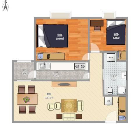 广渠家园2室1厅1卫1厨69.00㎡户型图