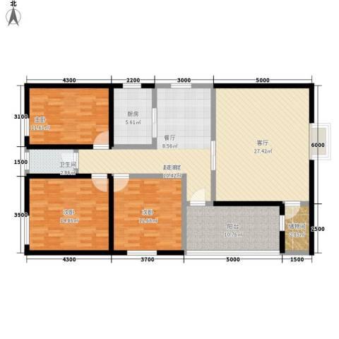 锦业大厦3室1厅1卫1厨154.00㎡户型图