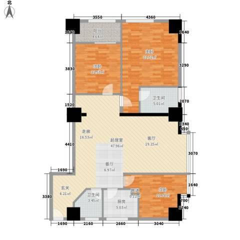 新世纪大厦3室0厅2卫1厨157.00㎡户型图