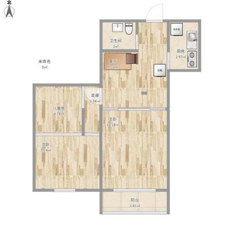 芍药居9号院3室1厅1卫1厨64.00㎡户型图