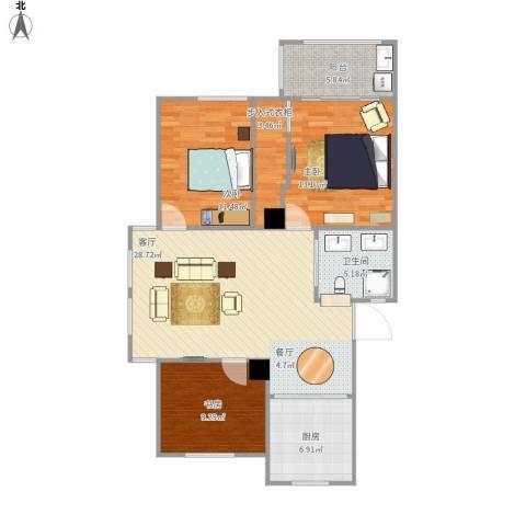 余姚阳光美地3室1厅1卫1厨98.00㎡户型图