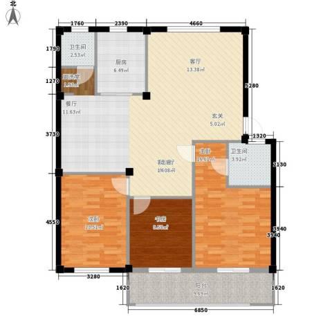山水人家小区3室1厅2卫1厨119.00㎡户型图