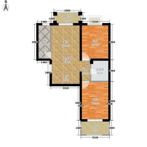 金榜名苑2室0厅1卫1厨88.00㎡户型图