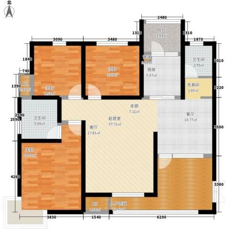 都市花园3室0厅2卫1厨119.00㎡户型图